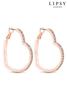 Lipsy Jewellery Crystal Heart Hoop Earrings