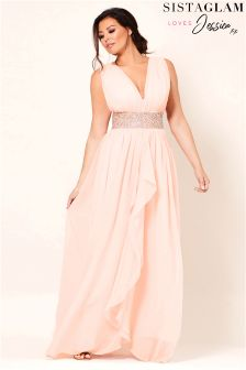 Sistaglam Loves Jessica V Neck Chiffon Bridesmaid Maxi Dress