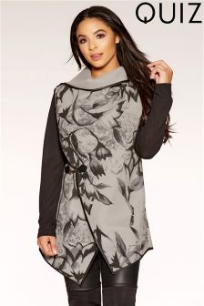 Quiz Floral Printed Felt Wrap Buckle Cardigan