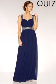 Quiz Chiffon Embellished Waist Maxi Dress