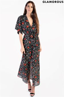 Glamorous Printed Split Front Maxi Dress