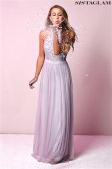 Платье макси с пайетками Sistaglam