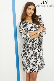 JDY Floral 3/4 Woven Dress With Tie Sleeve Detail