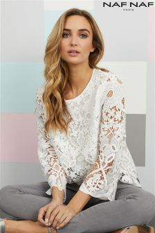 Naf Naf Long Sleeve Lace Top
