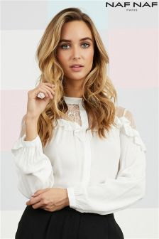 Naf Naf Lace And Frill Long Sleeve Top