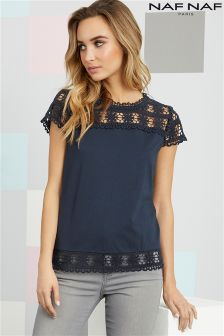 Naf Naf High Neck Lace Top