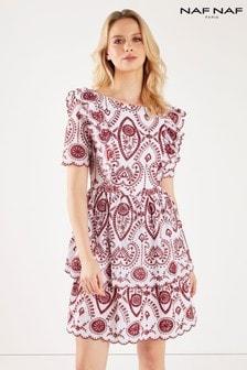 Платье без рукавов с узором Naf Naf