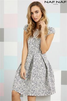 Naf Naf Pleated Lace Skater Dress