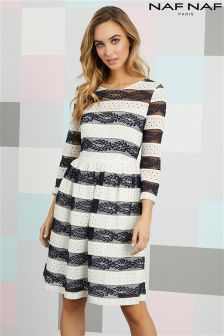 Платье миди с контрастным кружевом Naf Naf