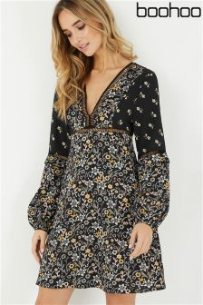 Boohoo Printed Skater Dress