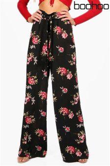 Boohoo Floral Print Wide Leg Trousers