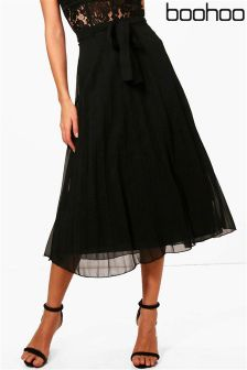Boohoo Woven Pleated Tie Waist Midi Skirt