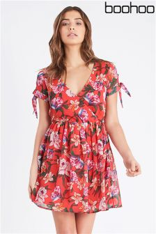 Boohoo Wrap Front Tie Sleeve Dress