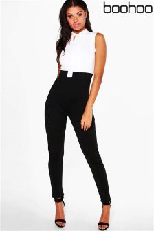 Boohoo Tie Neck Tailored Jumpsuit