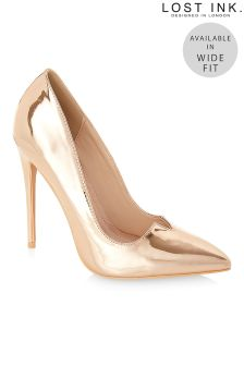 Lost Ink Wide Fit Pointed Metallic Court Heels