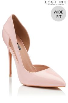 Lost Ink Wide Fit Cut Out Court Heels