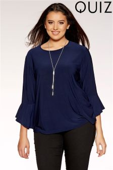 Quiz Curve Frill Sleeve Necklace Top