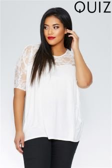 Quiz Curve Lace Sleeve Top