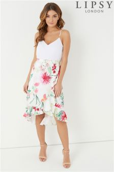 Lipsy Printed Satin Asymmetric Skirt