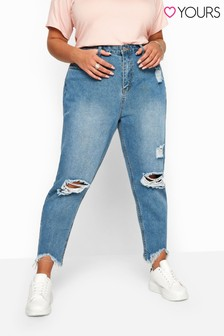 Yours Curve Distressed Mom Jeans