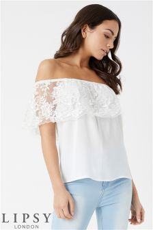 Lipsy Sequin Lace Bardot Top