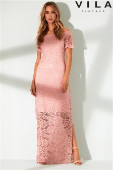 Vila Lace Off Shoulder Maxi Dress