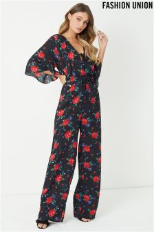 Fashion Union Floral Print Jumpsuit With Flutter Sleeve