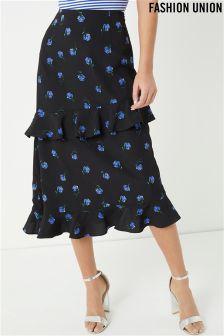 Fashion Union Floral Print Midi Ruffle Skirt