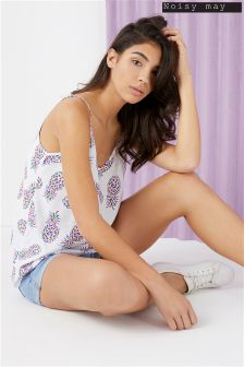 Noisy May Singlet Top With All Over Pineapple Print