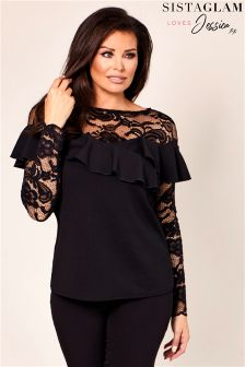 Sistaglam Loves Jessica Lace Ruffle Frill Top