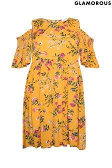 Glamorous Curve Cold Shoulder Floral Smock Dress