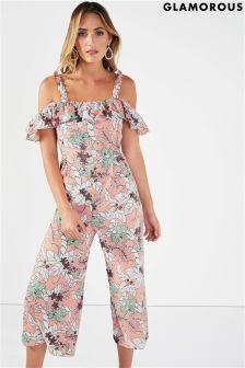 Glamorous Floral Cold Shoulder Jumpsuit