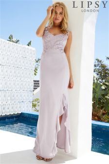 Lipsy Frill Split & Appliqué Trim Maxi Dress