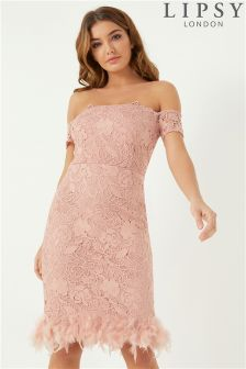 Lipsy Lace Feather Hem  Bardot Dress