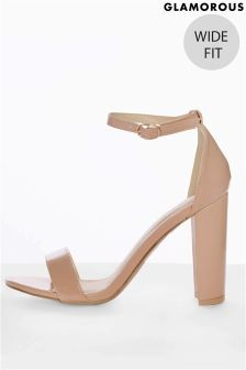Glamorous 'Wide Fit' Block Heel Patent Sandals