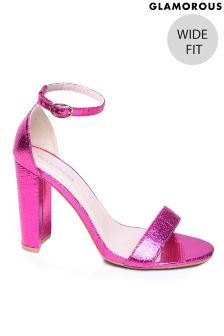 Glamorous Wide Fit Block Heel Metallic Sandals