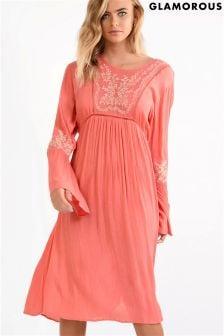 Свободное платье миди с вышивкой Glamorous