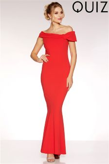Quiz Bardot Side Bow Fishtail Maxi Dress