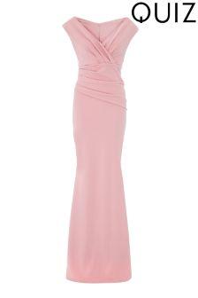 Quiz Bardot Wrap Front Fishtail Maxi Dress
