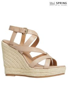 Call It Spring Cross Over Strap Wedged Espadrilles