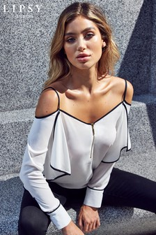 Lipsy Ruffle Cold Shoulder Zip Front Blouse