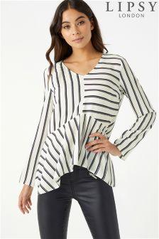 Lipsy Stripe High Low Long Sleeve Blouse