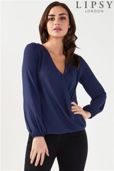 Lipsy Wrap Blouse With Eyelet Shoulder Detail Top