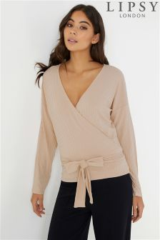 Lipsy Ribbed Wrap Top