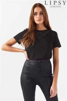 Lipsy Lace Short Sleeve T-Shirt