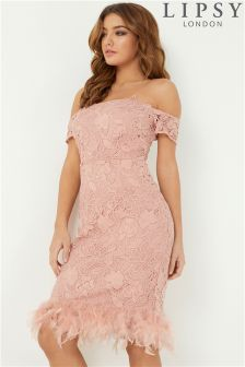 Lipsy Feather Hem and Lace Bardot Dress