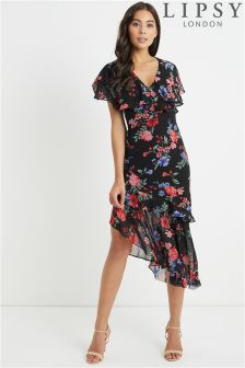 Lipsy Lucy Print Floral Asymmetric Midi Dress