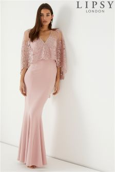Lipsy Lara Lace Cape Maxi Dress