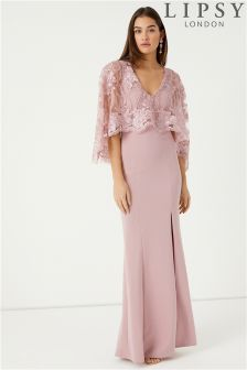 Lipsy Raksha Lace Cape Maxi Dress