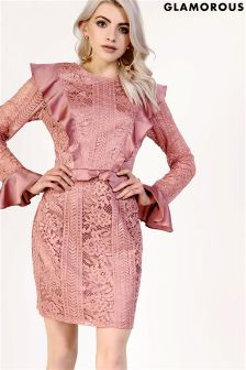 Glamorous Lace Long Sleeved Frilled Bodycon Dress